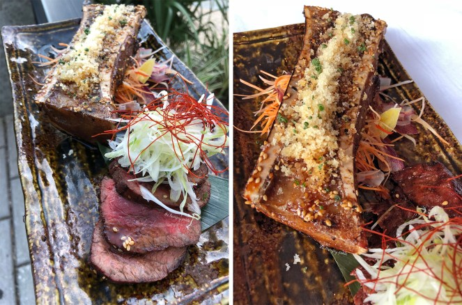 Snake River Farm Wagyu Sirloin with Grilled Bone Marrow and Spicy Garlic Soy