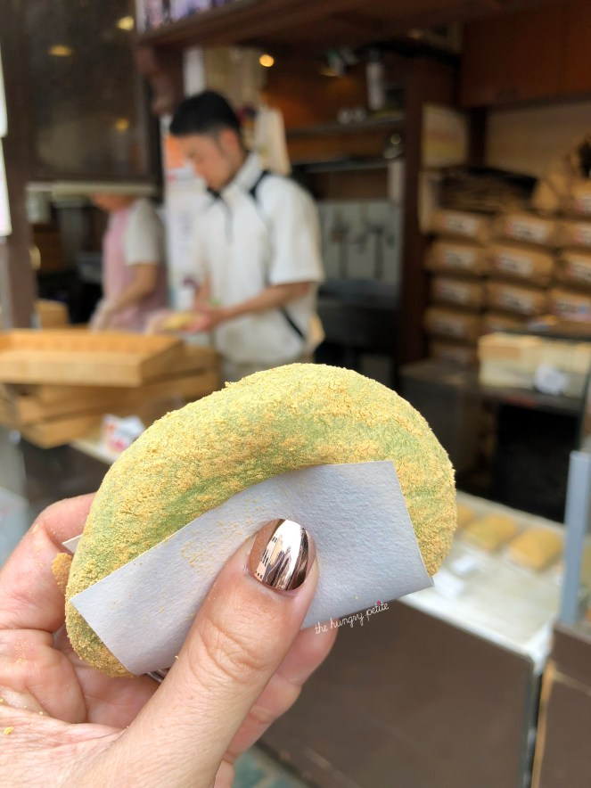 Mochi from Nakatanidou. This is where the famous mochi pounding takes place. They weren't pounding when I stopped by, but I did try one of the mochi. It was just ok and nothing spectacular. Glad I only ordered a single.