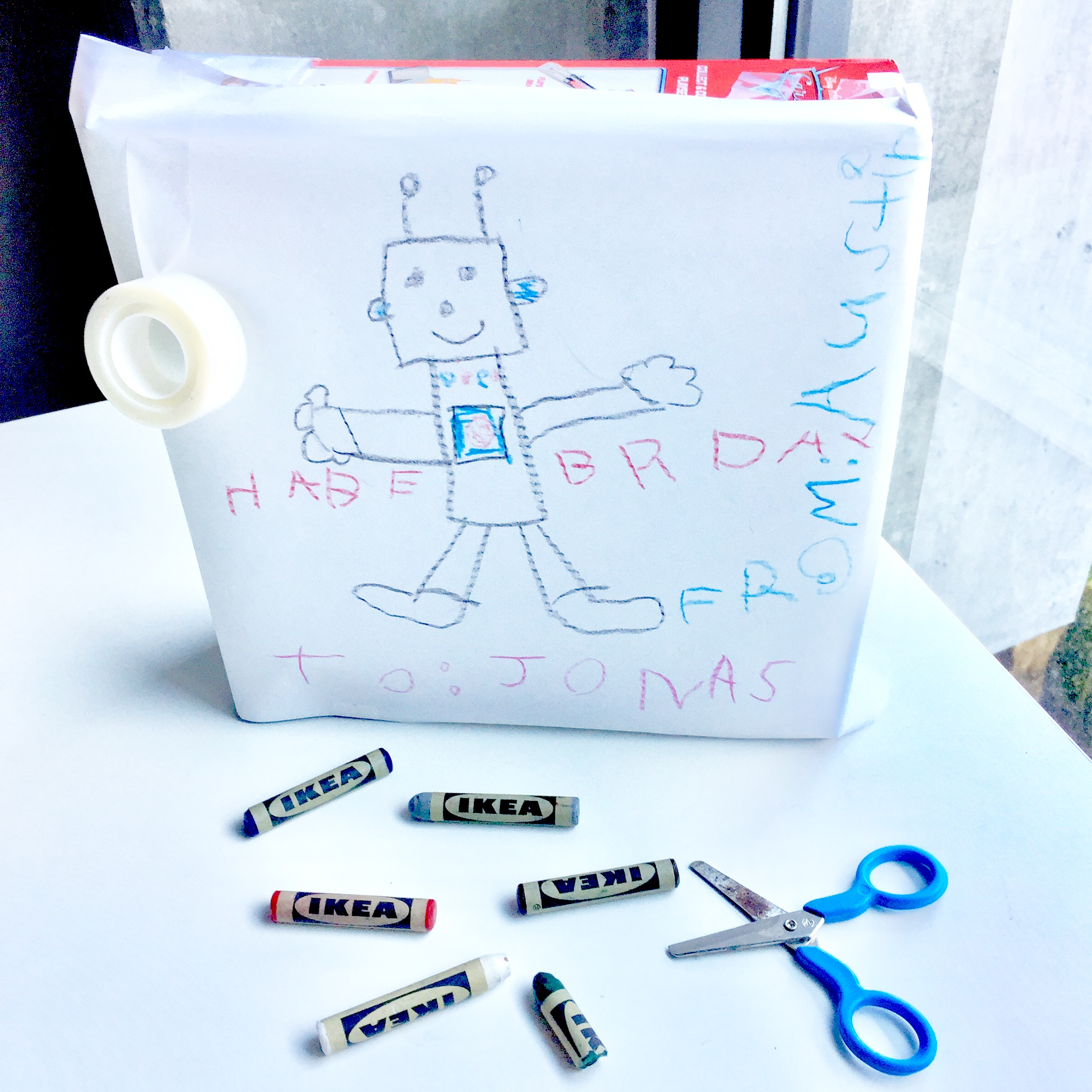DIY gift toddler present wrapping