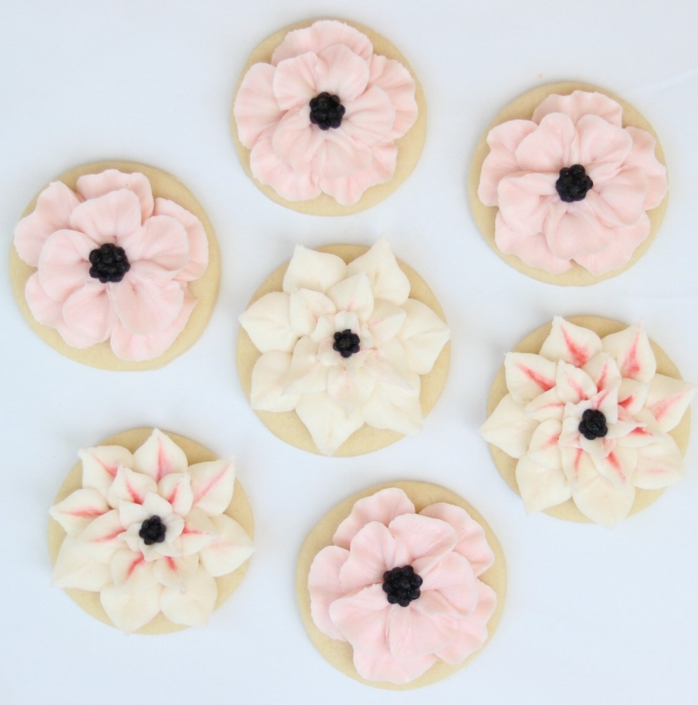 anemone and dahlia buttercream frosted cookie tutorial the hutch oven