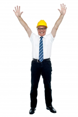 Second Job - Construction worker raising his arms in victory.