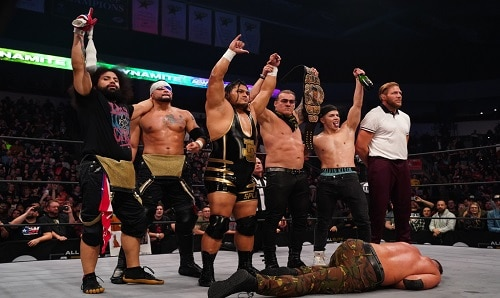 AEW Jeff Cobb with the Inner Circle