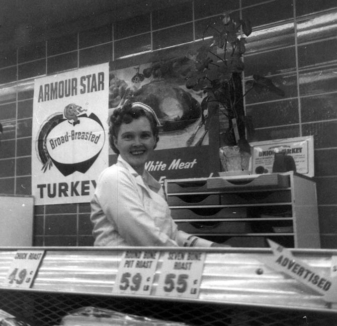 Vintage grocery store meat department