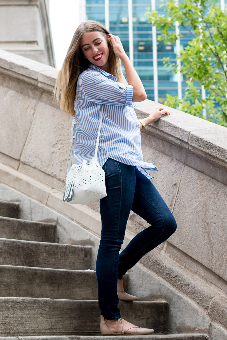 Blue Top on Stairs