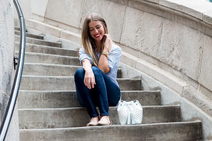 White bag sitting on steps