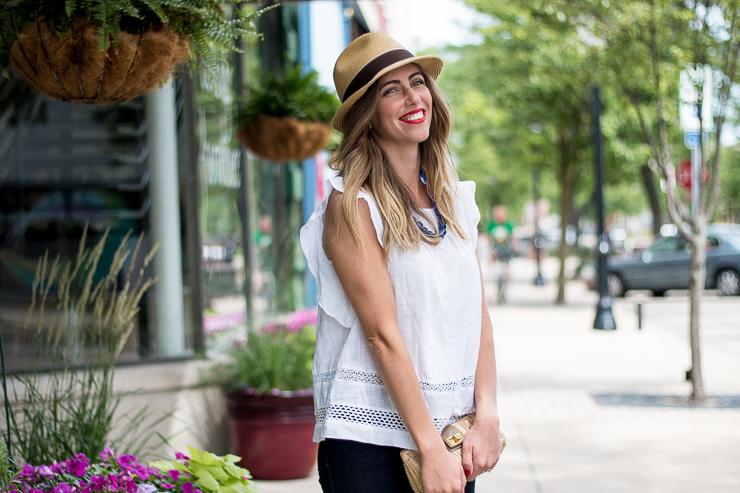 white flutter sleeve top, hat
