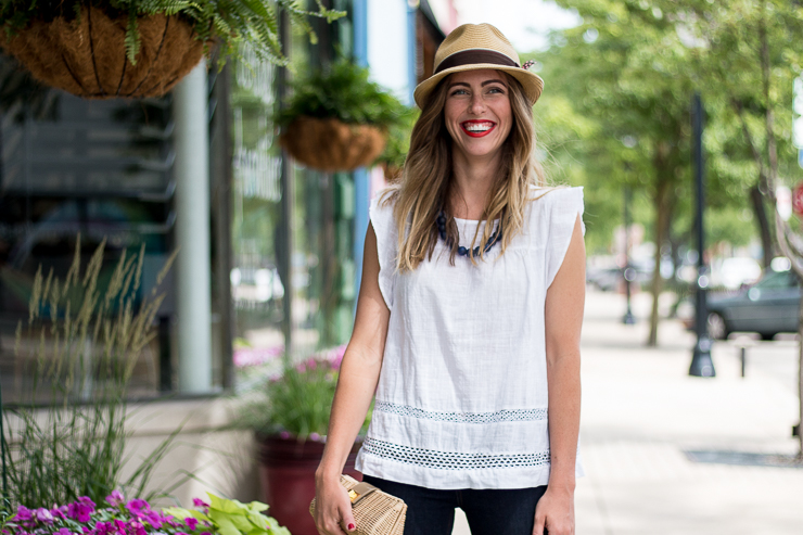 white flutter sleeve with hat