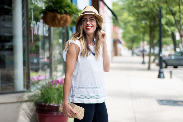 White flutter sleeve shirt with hat
