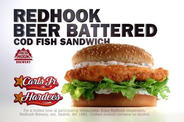 Carls Jr Hardees Redhook Beer Battered Cod Fish Sandwich