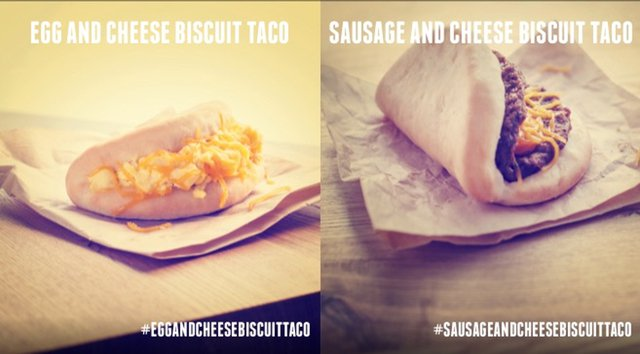 Taco Bell Egg and Cheese Biscuit Taco and Sausage and Cheese Biscuit Taco