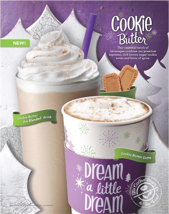 The Coffee Bean  Tea Leaf Cookie Butter Latte and Cookie Butter Ice Blended Drink