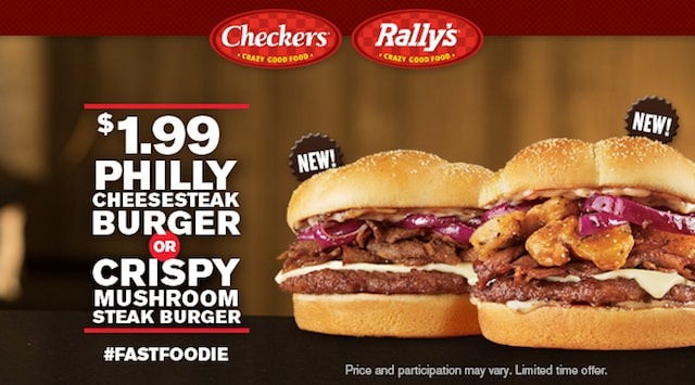 Checkers Rally s Philly Cheesesteak Burger and Crispy Mushroom Steak Burger