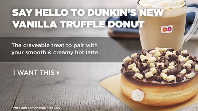 Dunkin Donuts Vanilla Truffle Donut