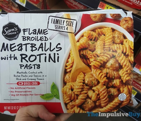 Sam s Choice Flame Broiled Meatballs with Rotini Pasta