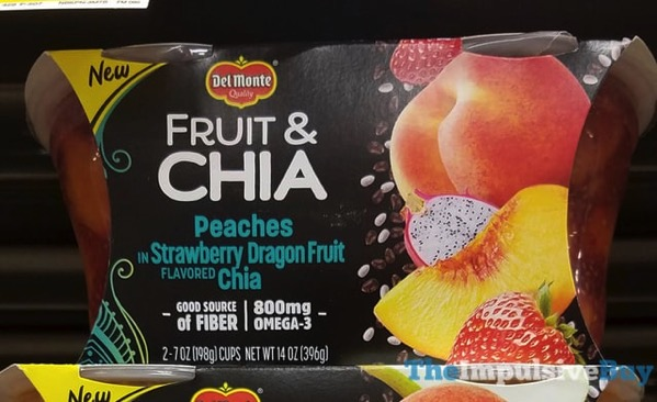 Del Monte Fruit  Chia Peaches Strawberry Dragon Fruit Chia