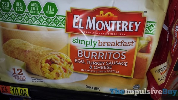 El Monterey Simply Breakfast Burritos Egg Turkey Sausage  Cheese