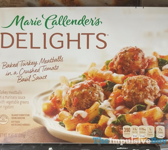 Marie Callender s Delights Baked Turkey Meatballs in a Crushed Tomato Basil Sauce