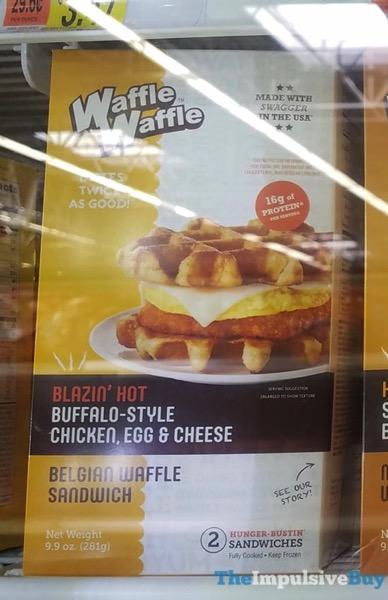 Waffle Waffle Blazin Hot Buffalo Style Chicken Egg  Cheese Belgian Waffle Sandwiches