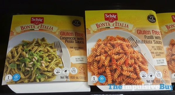 Schar Bonta d Italia Gluten Free Caserecce With Pesto Sauce and Fusili with Arrabbiata Sauce