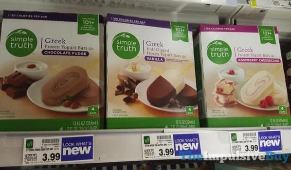Simple Truth Chocolate Fudge Raspberry Cheesecake and Half Dipped Greek Frozen Yogurt Bars