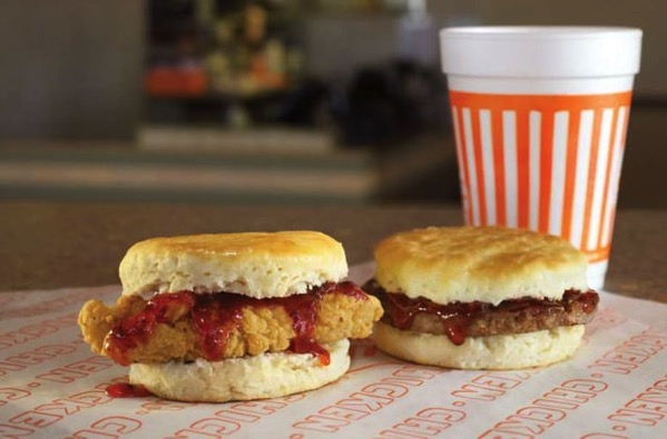 Whataburger Strawberry Chicken and Sausage Biscuits