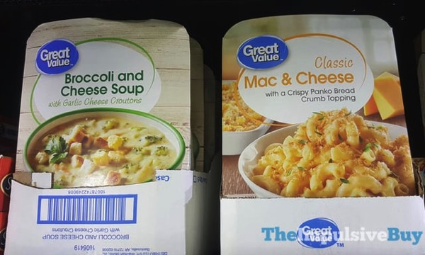Great Value Broccoli and Cheese Soup and Classic Mac  Cheese