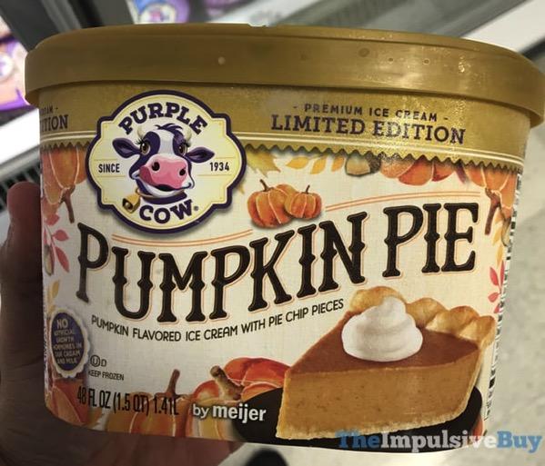 Purple Cow Limited Edition Pumpkin Pie Ice Cream  2017