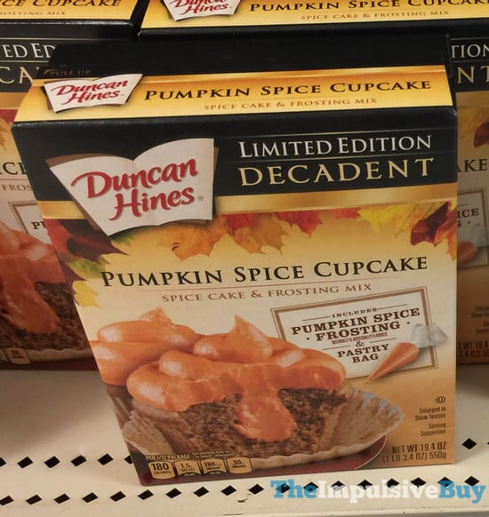 Duncaon Hines Limited Edition Decadent Pumpkin Spice Cupcake Mix  2017