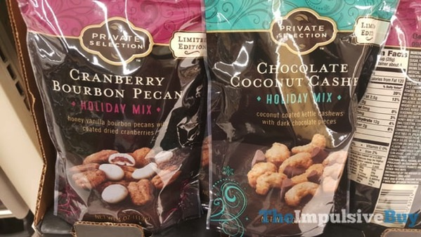 Kroger Private Collection Holiday Mixes  Cranberry Bourbon Pecan and Chocolate Coconut Cashew