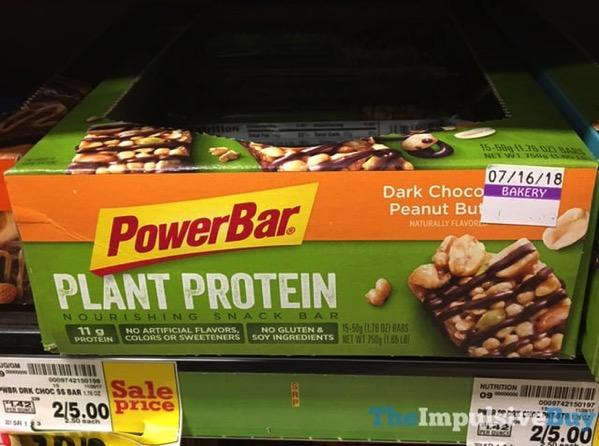 PowerBar Dark Chocolate Peanut Butter Plant Protein Snack Bar