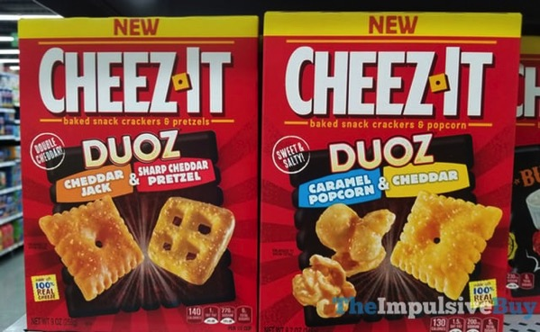 Cheez It Duoz  Cheddar Jack  Sharp Cheddar Pretzel and Caramel Popcorn  Cheddar