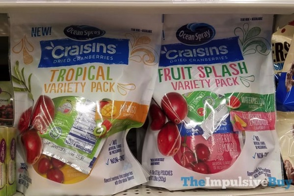 Ocean Spray Craisins Tropical and Fruit Splash Variety Packs