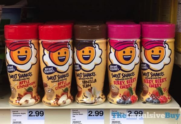 Kernel Season s Sweet Shakes Oatmeal Mix Ins  Apple Cinnamon Vanilla Bean and Berry Berry Cherry