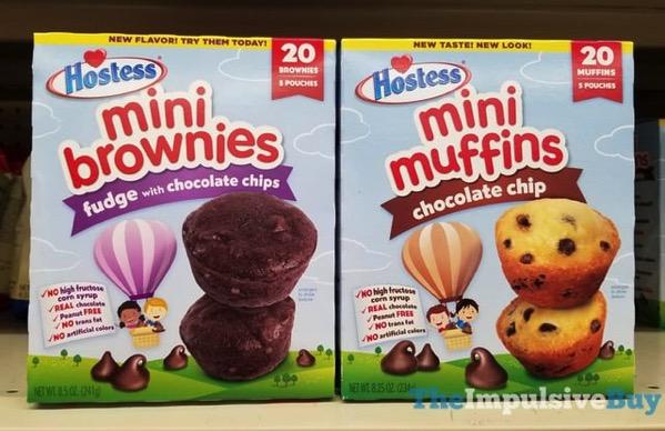 Hostess Mini Brownies Fudge with Chocolate Chips and Hostess Mini Muffins Chocolate Chip