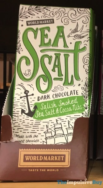 World Market Sea Salt Dark Chocolate Salish Smoked Sea Salt  Cocoa Nibs Bar