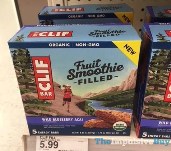 Clif Bar Fruit Smoothie Filled Wild Blueberry Acai Energy Bars