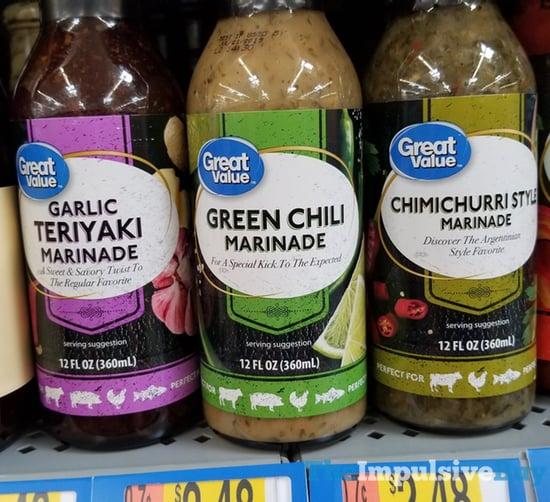 Great Value Garlic Teriyaki Green Chili and Chimichurri Style Marinades