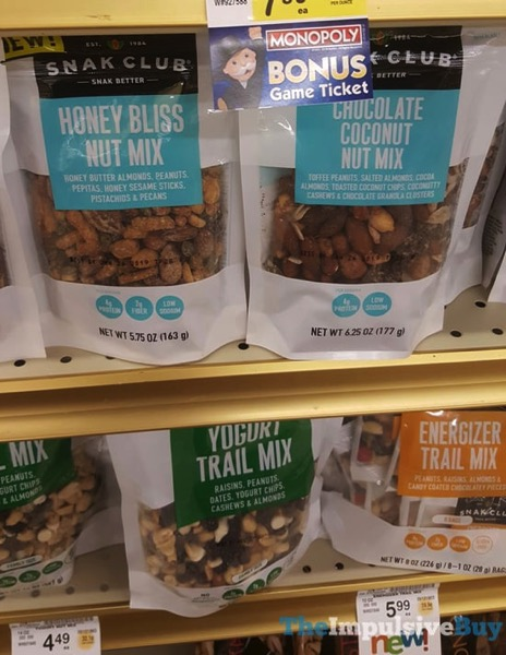 Snak Club Honey Bliss Nut Mix Chocolate Coconut Nut Mix Yogurt Trail Mix and Energizer Trail Mix
