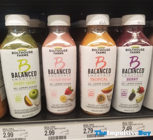 Bolthouse Farms Balanced Smoothies  Sweet Green Strawberry Banana Tropical and Berry
