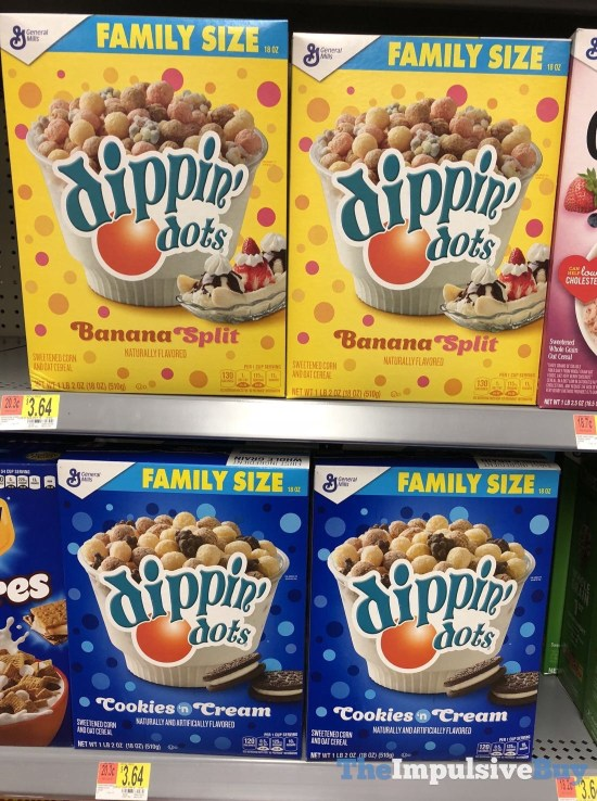 General Mills Dippin Dots Cereal  Banana Split and Cookies n Cream