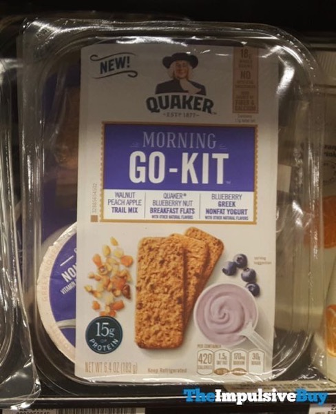 Quaker Morning Go Kit Walnut Peach Apple Trail Mix Blueberry Nut Breakfast Flats and Blueberry Greek Yogurt