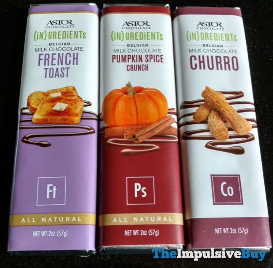 Astor Chocolate Ingredients Milk Chocolate French Toast Pumpkin Spice Crunch Churro Bars
