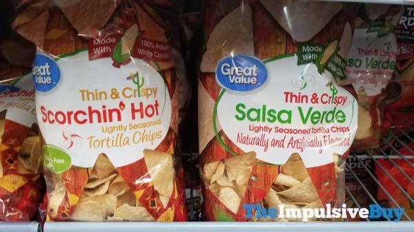 Great Value Thin  Crispy Scorchin Hot and Salsa Verde Tortilla Chips