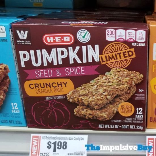 H E B Limited Edition Pumpkin Seed  Spice Crunchy Granola Bars