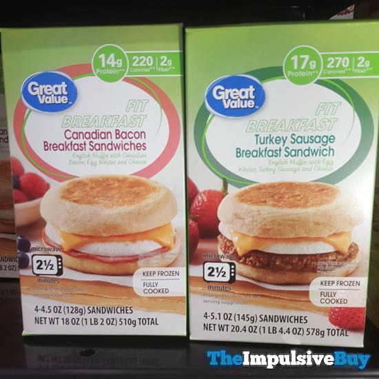 Great Value Fit Breakfast Canadian Bacon and Turkey Sausage Breakfast Sandwiches