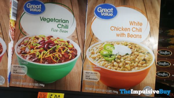 Great Value Vegetarian Chili and White Chicken Chili with Beans