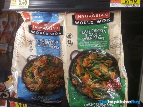 InnovAsian World Wok Sizzling Garlic Noodles  Grilled Chicken and Crispy Chicken  Garlic Green Beans