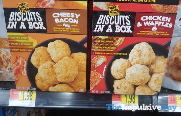 Super Snack Time Biscuits in a Box  Cheesy Bacon and Chicken  Waffles