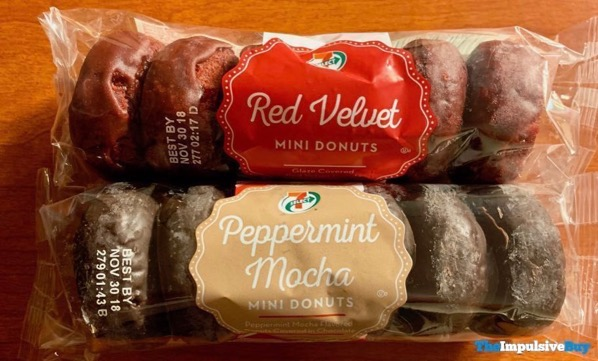 7 Select Red Velvet and Peppermint Mocha Mini Donuts
