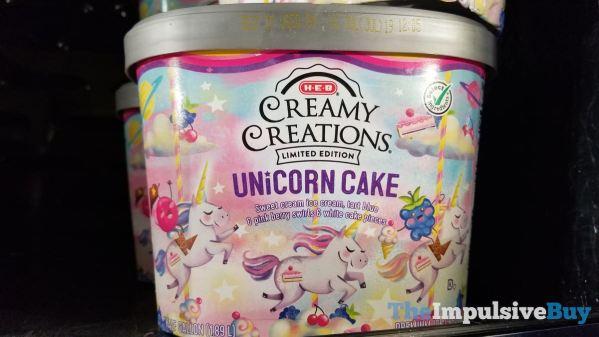 H E B Limited Edition Creamy Creations Unicorn Cake Ice Cream